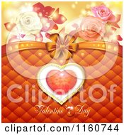 Clipart Of A Valentines Day Background With Roses And A Heart Royalty Free Vector Illustration