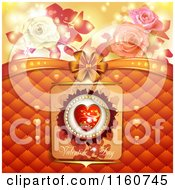 Clipart Of A Valentines Day Background With Roses And A Heart 2 Royalty Free Vector Illustration
