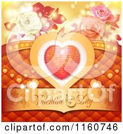 Clipart Of A Valentines Day Background With Roses And A Heart 3 Royalty Free Vector Illustration