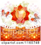 Clipart Of A Valentines Day Background With A Dewy Heart Roses And Butterflies Royalty Free Vector Illustration