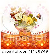 Clipart Of A Valentines Day Background With Roses Butterflies And Hearts Royalty Free Vector Illustration