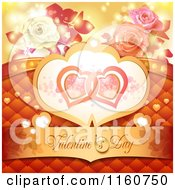 Clipart Of A Valentines Day Background With Roses And Hearts Royalty Free Vector Illustration