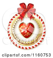Clipart Of A Red And Gold Floral Heart In Frames With A Bow Royalty Free Vector Illustration