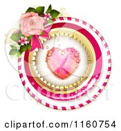 Clipart Of A Dewy Pink Heart In Frames With Blossoms And A Rose Royalty Free Vector Illustration