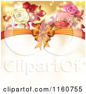 Clipart Of A Valentines Day Or Wedding Background With Roses And Hearts 7 Royalty Free Vector Illustration by merlinul