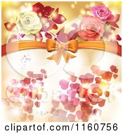 Clipart Of A Valentines Day Or Wedding Background With Roses And Hearts 3 Royalty Free Vector Illustration