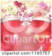 Clipart Of A Valentines Day Or Wedding Background With Roses And Hearts 4 Royalty Free Vector Illustration