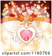Clipart Of A Valentines Day Background Of A Dewy Pink Heart And Vines With A Bow Royalty Free Vector Illustration