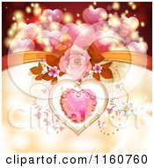 Clipart Of A Valentines Day Background Of A Dewy Pink Heart Roses And Vines With A Bow Royalty Free Vector Illustration