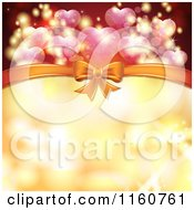 Clipart Of A Valentines Day Or Wedding Background With Hearts And A Bow Royalty Free Vector Illustration