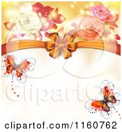 Clipart Of A Valentines Day Or Wedding Background With Roses Butterflies And Hearts 2 Royalty Free Vector Illustration