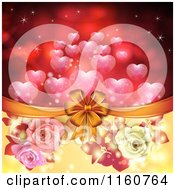 Clipart Of A Valentines Day Or Wedding Background With Roses And Hearts 9 Royalty Free Vector Illustration