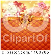 Clipart Of A Valentines Day Or Wedding Background With Roses Hearts And Padding With A Bow Royalty Free Vector Illustration