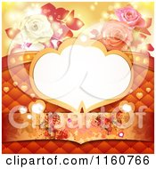 Clipart Of A Valentines Day Or Wedding Background With A Frame Roses Butterflies And Hearts Royalty Free Vector Illustration