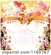 Clipart Of A Valentines Day Or Wedding Background With Roses And Hearts 11 Royalty Free Vector Illustration