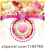 Clipart Of A Valentines Day Background Of A Dewy Pink Heart Roses And A Bow Royalty Free Vector Illustration