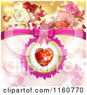Clipart Of A Valentines Day Or Wedding Background With Roses And Hearts 8 Royalty Free Vector Illustration