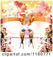 Clipart Of A Valentines Day Or Wedding Background With Love Birds Hearts And Roses Royalty Free Vector Illustration by merlinul