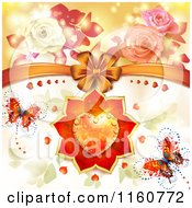 Clipart Of A Valentines Day Or Wedding Background With Roses Butterflies And Hearts 3 Royalty Free Vector Illustration