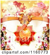 Clipart Of A Valentines Day Or Wedding Background With Roses A Heart And Bow With Blossoms Royalty Free Vector Illustration