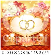 Clipart Of A Wedding Background With Wedding Rings Roses Butterflies And Hearts Royalty Free Vector Illustration