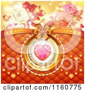 Clipart Of A Valentines Day Background Of A Dewy Pink Heart With Padding Roses And A Bow Royalty Free Vector Illustration
