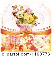 Clipart Of A Valentines Day Or Wedding Background With Roses And Hearts 12 Royalty Free Vector Illustration