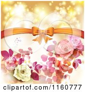 Clipart Of A Valentines Day Or Wedding Background With Roses And Hearts 2 Royalty Free Vector Illustration