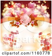 Clipart Of A Valentines Day Or Wedding Background With Roses And Hearts Royalty Free Vector Illustration