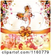 Clipart Of A Valentines Day Or Wedding Background With Roses Butterflies And Hearts Royalty Free Vector Illustration