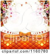 Clipart Of A Wedding Or Valentines Day Background With A Bow Padding Hearts And Blossoms Around Copyspace Royalty Free Vector Illustration