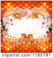Clipart Of A Wedding Or Valentines Day Background With A Bow Padding Hearts And Flowers Around Copyspace Royalty Free Vector Illustration