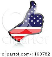 Clipart Of A Flag Of America Thumb Up Hand Royalty Free Vector Illustration