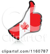 Clipart Of A Flag Of Canada Thumb Up Hand Royalty Free Vector Illustration by Andrei Marincas