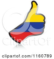 Clipart Of A Flag Of Columbia Thumb Up Hand Royalty Free Vector Illustration by Andrei Marincas