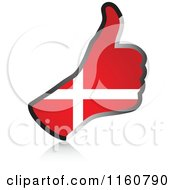 Clipart Of A Flag Of Denmark Thumb Up Hand Royalty Free Vector Illustration
