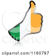 Clipart Of A Flag Of Ireland Thumb Up Hand Royalty Free Vector Illustration