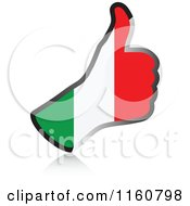 Clipart Of A Flag Of Italy Thumb Up Hand Royalty Free Vector Illustration