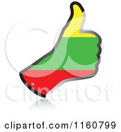 Clipart Of A Flag Of Lithuania Thumb Up Hand Royalty Free Vector Illustration
