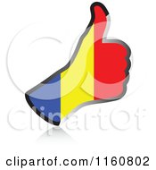 Clipart Of A Flag Of Romania Thumb Up Hand Royalty Free Vector Illustration by Andrei Marincas