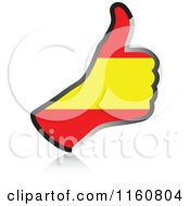 Clipart Of A Flag Of Spain Thumb Up Hand Royalty Free Vector Illustration