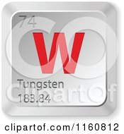 Clipart Of A 3d Red And Silver Tungsten Chemical Element Keyboard Button Royalty Free Vector Illustration