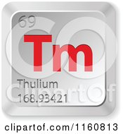 Clipart Of A 3d Red And Silver Thulium Chemical Element Keyboard Button Royalty Free Vector Illustration