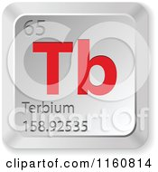 Clipart Of A 3d Red And Silver Terbium Chemical Element Keyboard Button Royalty Free Vector Illustration