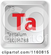 Clipart Of A 3d Red And Silver Tantalum Chemical Element Keyboard Button Royalty Free Vector Illustration