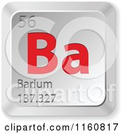 Clipart Of A 3d Red And Silver Barium Chemical Element Keyboard Button Royalty Free Vector Illustration