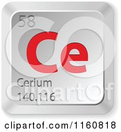 Clipart Of A 3d Red And Silver Cerium Chemical Element Keyboard Button Royalty Free Vector Illustration