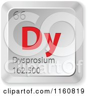 Clipart Of A 3d Red And Silver Dysprosium Chemical Element Keyboard Button Royalty Free Vector Illustration