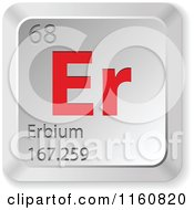 Clipart Of A 3d Red And Silver Erbium Chemical Element Keyboard Button Royalty Free Vector Illustration
