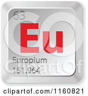 Clipart Of A 3d Red And Silver Europium Chemical Element Keyboard Button Royalty Free Vector Illustration